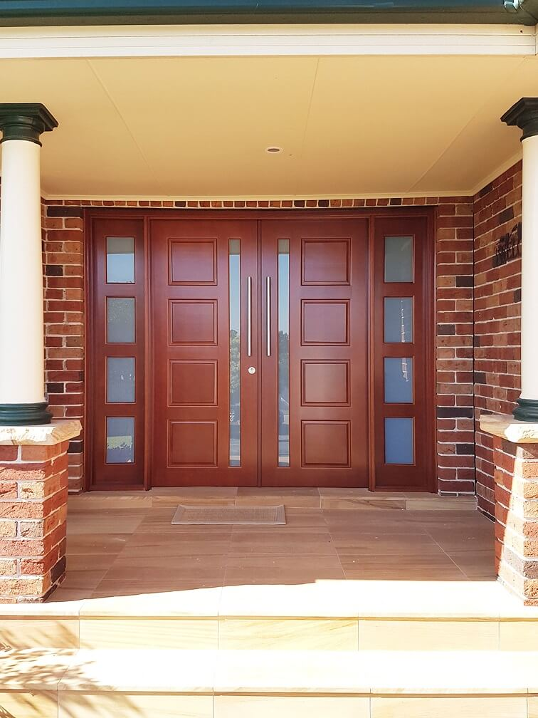 double frosted glass timber doors stained