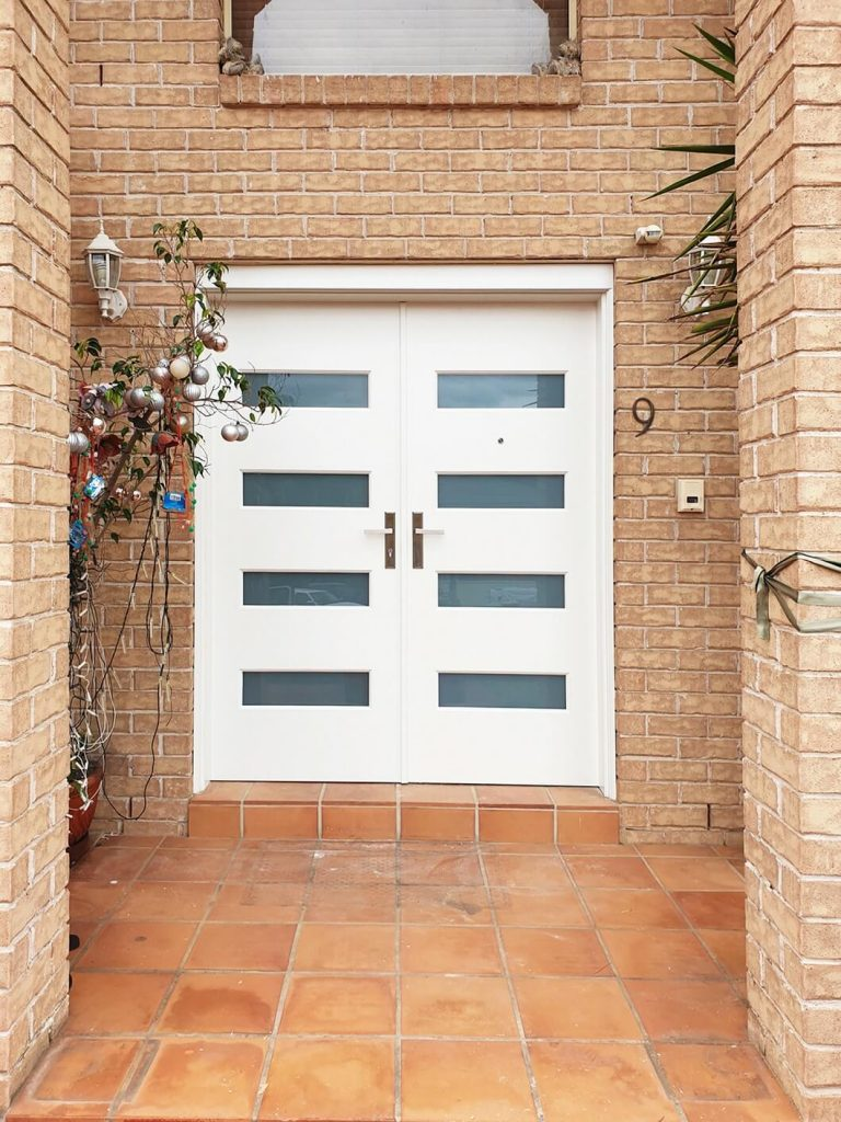 frosted glass double front doors with 4 panes of glass