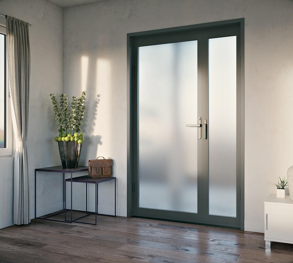 frosted glass front aluminium hinged door with sidepanel